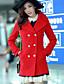 婦人向け お出かけ 冬 ソリッド コート,シンプル シャツカラー ブルー / レッド / ブラック ポリエステル 長袖 厚手
