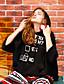 liangsanshi naisten vapaa-ajan / päivittäin yksinkertainen pitkä huppareita, kirjain monivärinen hupullinen pitkähihainen polyesteri lasku keskipitkän