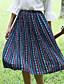 Kvinders Vintage Midi Nederdele Mikroelastisk Polyester