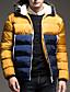 Langærmet Patchwork Mænds Normal Vatteret Frakke Polyester / Nylon