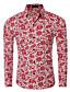 Masculino Camisa Casual / Escritório Estampado Manga Comprida Algodão / Poliéster Azul / Vermelho