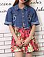 Bomull Blå Medium Kortermet,Skjortekrage Denimjakker Ensfarget Sommer Gatemote Fritid/hverdag Dame