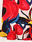 Dame Gade I-byen-tøj Plusstørrelser Skede Kjole Trykt mønster,Rund hals Over knæet Kortærmet Flerfarvet Polyester Sommer Alm. taljede