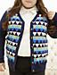 Kort Cardigan Fritid/hverdag / Plusstørrelser Vintage Dame,Geometrisk Blå V-hals Langermet Bomull Vinter Medium Mikroelastisk
