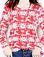 レディース シンプル カジュアル/普段着 ニット ドレス,幾何学模様 ラウンドネック 膝上 長袖 コットン 秋 冬 ハイライズ マイクロエラスティック ミディアム