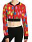 Damen Geometrisch Aktiv Sport Jacke,Herbst Rundhalsausschnitt Langarm Rosa Rot Grün Mittel Polyester