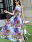 פוליאסטר מקסי צווארון עגול דפוס שמלה שיפון / סווינג סקסי / בוהו נשים