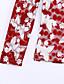 Langærmet Høj krave Medium Dame Blå Rød Sort Trykt mønster Efterår Vinter Kineseri Plusstørrelser Bluse,Bomuld Polyester