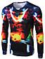 Herren Druck Einfach Lässig/Alltäglich T-shirt,Rundhalsausschnitt Frühling Herbst Langarm Schwarz Baumwolle Undurchsichtig