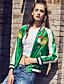 Damen Stickerei Street Schick Lässig/Alltäglich Jacke,Winter Rundhalsausschnitt Langarm Grün Mittel Polyester Nylon