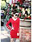 Damen Hülle Kleid-Ausgehen Einfach Solide V-Ausschnitt Mini Langarm Rot Schwarz Baumwolle Herbst Mittlere Hüfthöhe Mikro-elastisch Mittel