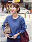 Damen Standard Pullover-Lässig/Alltäglich Einfach Solide Blau Rundhalsausschnitt Langarm Baumwolle Winter Mittel Mikro-elastisch