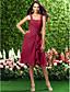 Lan ting brude knælængde chiffon brudepige kjole - a-line stropper plus størrelse / petite