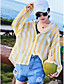 Polyester Normal 3/4 erme,Skjortekrage Trenchcoat Stripet Sommer Enkel Ut på byen Dame