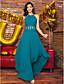 Linha A Decorado com Bijuteria Assimétrico Chiffon Baile de Fim de Ano Evento Formal Vestido com Miçangas Pregueado de TS Couture®