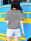 Damen Gestreift Einfach Lässig/Alltäglich T-shirt,Rundhalsausschnitt Kurzarm Leinen