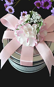 Clear Top Favor Tin With Pink Bow (Set of 6)