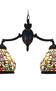 Tiffany-Stil Wandleuchte Glasmalerei Pendelleuchte mit 2 Leuchten