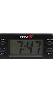 automotive elektronische klok met blauwe achtergrondverlichting - zwart - tr-1830