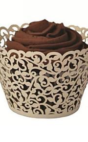 elfenben laserskurna cupcake wrappers (sats om 12)