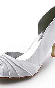 satijn bovenste naaldhak peep toe bruiloft bruids schoenen