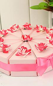 boîte de tranche de gâteau avec des fleurs roses et blanches (jeu de 10)