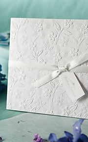 White Embossed Spring Flowers Wedding Invitation (Set of 50)