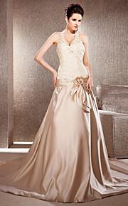 Lanting Bride® Trapèze / Princesse Petites Tailles / Grandes Tailles Robe de Mariage - Elégant & Luxueux Colorées Traîne ChapelleCol en