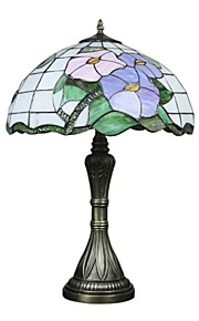 lampe de table tiffany avec 2 feux-plaquent finition