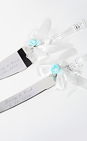 servant ensembles rose bleu clair couteau de gâteau de mariage personnalisé& gâteau blanc satiné Ensemble de service
