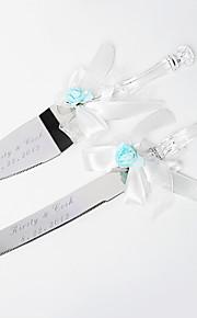 Serving Sets Wedding Cake Knife Personalized Light Blue Rose & White Satin  Cake Serving Set
