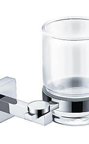 Contemporary Chrome Finish Brass Single Cup Rack