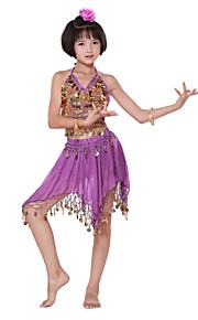 dancewear chiffon met munten / pailletten prestaties buikdans outfits voor kinderen meer kleuren