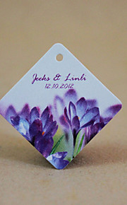 Personalized Rhombus Favor Tag - Purple Flowers (Set of 30)