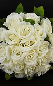 Fleurs de mariage Rond Roses Bouquets Mariage Ivoire Satin / Coton Ivoire Env.28cm
