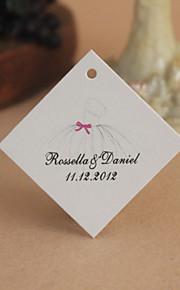 personnalisé étiquette de faveur losange - robe de mariée (jeu de 30)