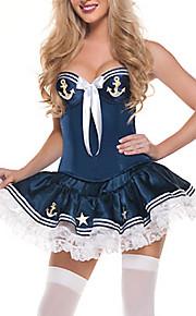 sexy niebieski kostium marynarz poliester z wstążką