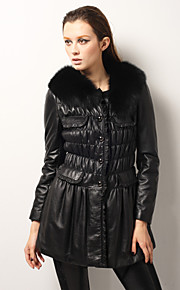 Elegant Lammeskinn Leather Fox Fur Collar Long Sleeves Party / Kontor Coat (Flere farger)