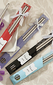 """East Meet West"" Stainless Steel Chopsticks Wedding Favor (12 Pairs)"