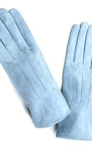 mooie koe lederen vingertoppen pols lengte mode handschoenen