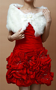 Mooie Faux Fur Party / bruiloft sjaal met bloem