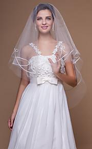 Voiles de Mariée Une couche Voiles bout du doigt Bord coupé 62.99 in (160 cm) Tulle Blanc Blanc / IvoireA-ligne, Robe de bal, Princesse,