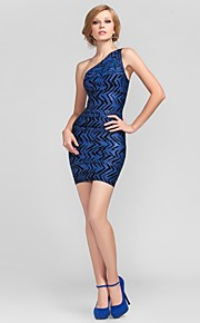 Cocktail Party Dress - Short Petite Sheath / Column One Shoulder Short / Mini Rayon with Bandage