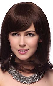 Capless Medium Rechte 100% Human Hair Pruiken met 2 kleuren te kiezen