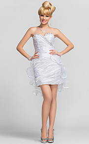 Cocktail Party / Graduation Dress - Short Plus Size / Petite Sheath / Column Strapless / Sweetheart Short / Mini Tulle / Charmeuse with