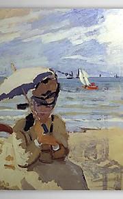 Huile célèbre tableau Camille sur la plage de Trouville par Claude Monet
