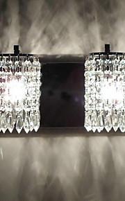 120W Light Wall moderne avec pendeloques de cristal et 2 lumières en chrome poli