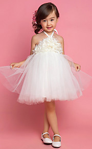 Princess Tea Length Flower Girl Dress - Satin Tulle Sleeveless Halter with Draping
