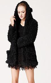 TS Einfachheit Schafswolle Long Sleeves Weiß Oberbekleidung Mit Hut