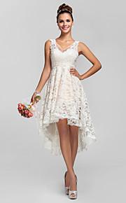 Homecoming Bridesmaid Dress Asymmetrical Lace A Line Princess V Neck Dress